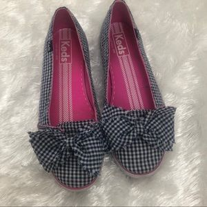 Keds Gingham Checked Bow Navy Slip on Flats 7.5